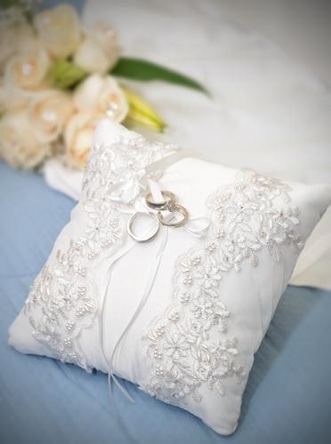 Recycled wedding dress cushion
