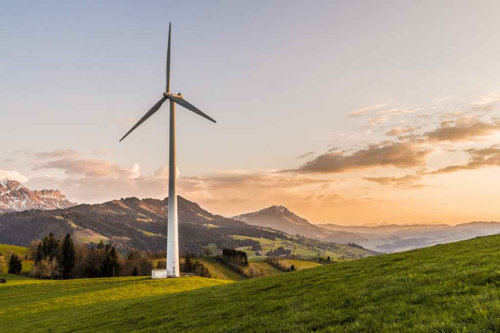 Sustainable, renewable wind turbine in the countryside
