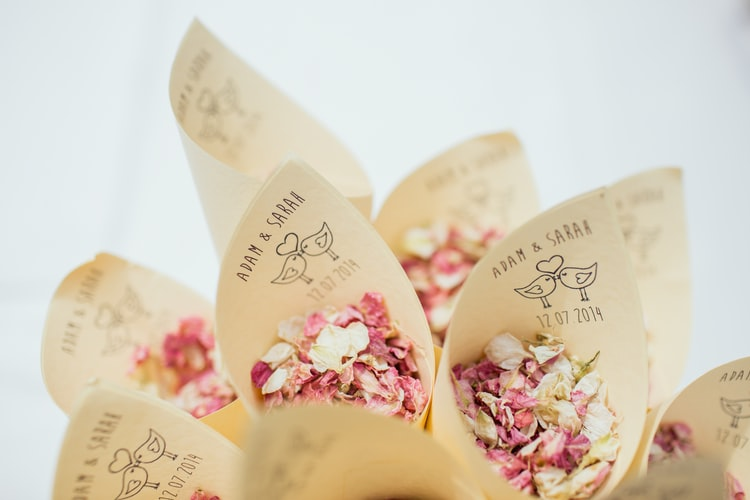 Biodegradable confetti cones filled with dried flower petals