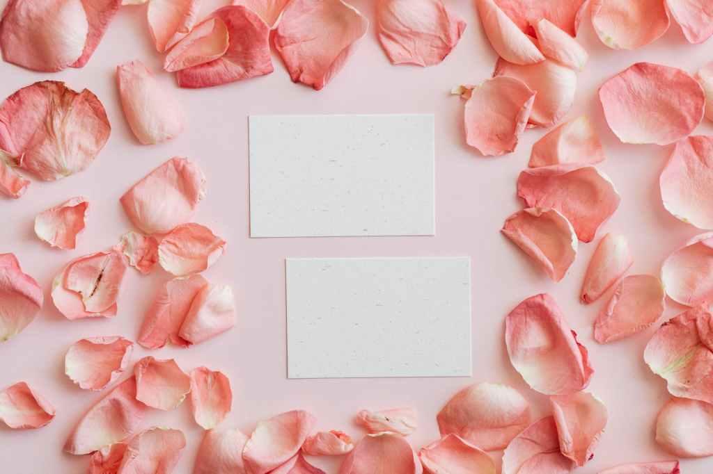 Biodegradable flower petal confetti surrounding two paper invitations